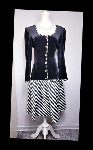 Vintage Vestido con enagua blanco-negro