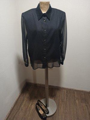 80s Vintage Bluse Schwarz Silber Schulterpolster transparent glänzend Gr.