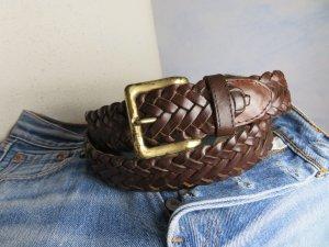 80s Vintage - Braun Flechtgürtel Echt Ledergürtel geflochten - Vintage Distressed - Größe 95