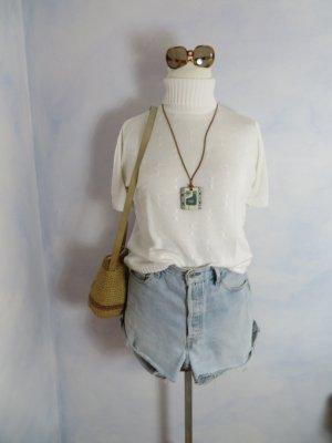 80s Vintage Breuninger Zopfmuster Pullover - Rollkragen - rein weiss  - S M L - Parisienne