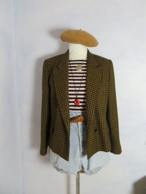 80s Vintage Cognac Braun Schwarz Hahnentritt Blazer - Gr. 42 - 100% Schurwolle - Goldix Karo Jacke - Tweed Plaid Coat