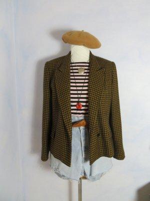 80s Vintage Cognac Braun Schwarz Hahnentritt Schurwolle Blazer - Gr. 42 - Goldix Karo Jacke - Tweed Plaid Coat