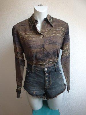 80s Vintage Ethno Bluse / Hemd aus Kupferseide