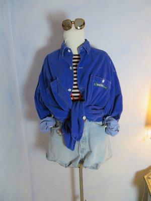 80s Vintage Französ. Designer Babykord Shirt -  J. Taverniti Diffusion France Kord Hemd - Royalblau - slouchy Französich Babykord Bluse Kleid Jacke - Oversize - M L XL - J. Taverniti Diffusion France - Original