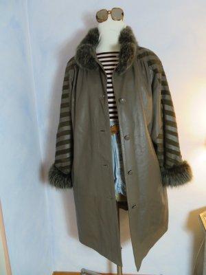 Vintage Manteau en cuir ocre-gris brun cuir