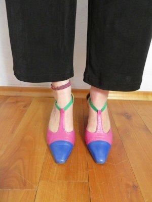 True Vintage T-Strap Sandals multicolored leather