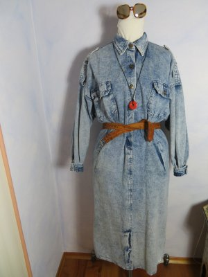 Vintage Oversized Coat azure-steel blue cotton