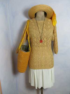 Vintage Crochet Sweater pale yellow-gold-colored viscose