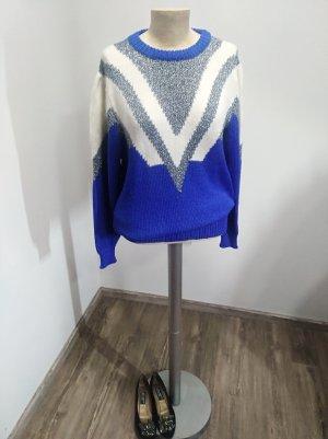 80s Vintage Pullover blau silber wollweiß Gr. S/M