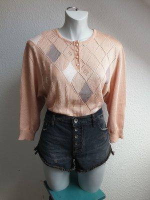 80s Vintage Pullover, nudefarben mit Rautenmuster