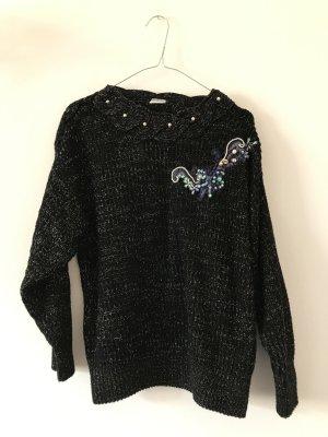 80s Vintage Pullover schwarz verziert L Strickpulli