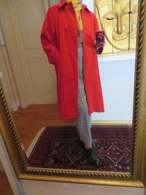 80s Vintage Rot Glockig KÖNIGSMÜHLE GERMANY Wintermantel S M L oversize Wollemantel 2-Reiher
