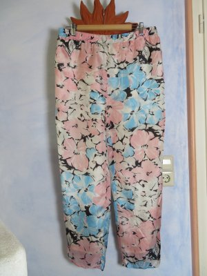 80s Vintage Seidenhose 100% Seide Gr. 40/42 Floral Pastell Rosa Hellblau Schimmernd High Waist Karottenhose Edel und Chic