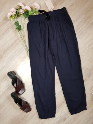 81hours Pantalon en jersey noir-bleu foncé