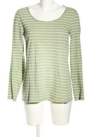 81 hours T-shirt rayé gris clair-vert moucheté style décontracté