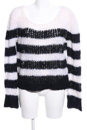 81hours Pull à gosses mailles blanc-noir motif rayé style décontracté