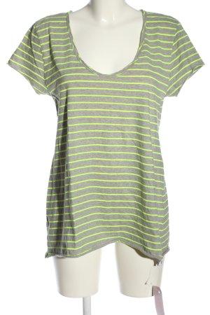 81hours T-shirt rayé gris clair-vert imprimé allover style décontracté