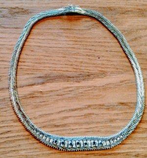 835 Silber Collier, 7 Saphire, Vintage