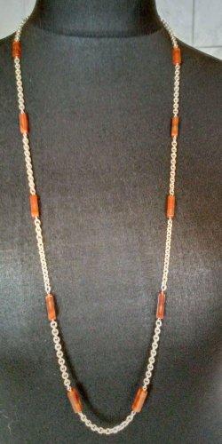 Cadena de cuentas color plata-marrón