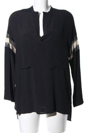 8PM Langarm-Bluse schwarz-nude Streifenmuster Casual-Look