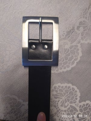 s.pa Leather Belt black-silver-colored