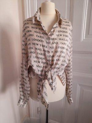90er Jahre oversize Bluse 100% Seide Print Gr M  L 38 40 Hemdbluse Hemd Seidenbluse