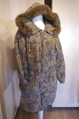 90er Retro Vintage Anorak Jacke Kapuze mit Fell XXL Bunt Echtfell Vintage Muster