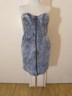 H&M Sukienka gorsetowa niebieski Bawełna