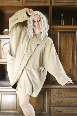 90s künstliches Velourleder Jacke Retro Vintage beige hellbraun XXL oversized
