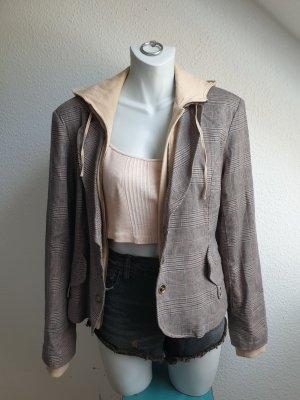 90s Vintage Blazer Jacke, kariert mit Sweater Einsatz