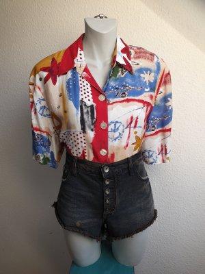 90s Vintage Bluse mit crazy Muster, Oversize