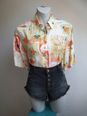 90s Vintage Bluse mit Retro Muster, Oversize