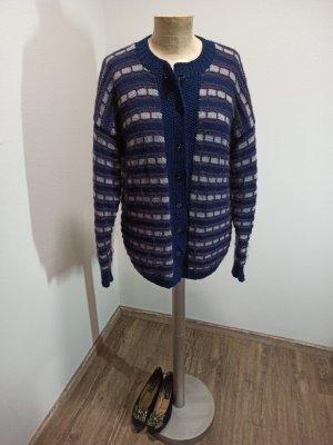 90s Vintage Cardigan handmade lila blau gemustert Oversize M L XL