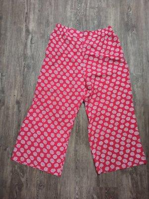 Vintage Falda pantalón de pernera ancha blanco-rojo Viscosa