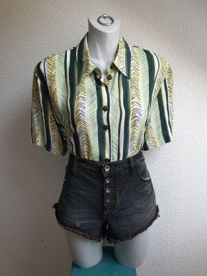 90s Vintage Hemd / Bluse grün gelb gestreift, Oversize