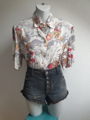 90s Vintage Hemd / Hemdbluse, grau geblümt