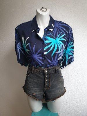 90s Vintage Hemdbluse aus Kupferseide, Oversize mit Palmenprint