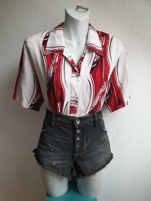 90s Vintage Hemdbluse mit psychedelischem / abstraktem Muster