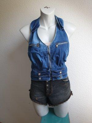 90s Vintage Neckholder Jeans Top / Corsagenstil