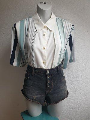 90s Vintage Oversize Bluse gestreift, 2in1 Optik