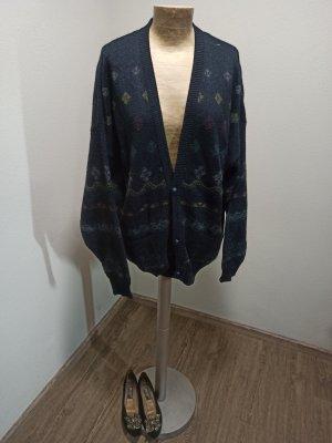 90s Westbury Vintage Cardigan dunkelblau bunt gemustert Unisex M L