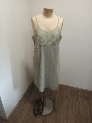 90s y2k Vintage Trägerkleid / Sommerkleid Mesh hellgrau gelb gemustert Gr. L