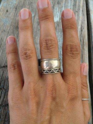 925 Breiter Ring mit Ornament Echtes silber Vintage Ethno Sterling Silber