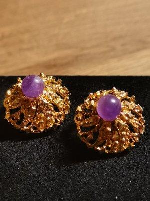 Clip d'oreille doré-violet foncé argent