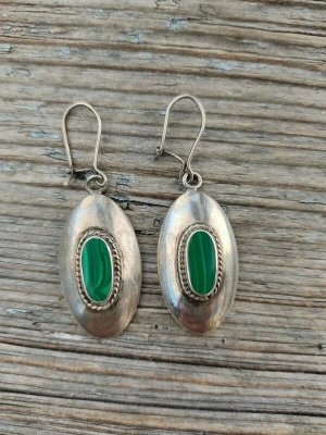 925 Ohrringe mit grünen Achaten Echtes silber Sterling Ohrhänger Sterling