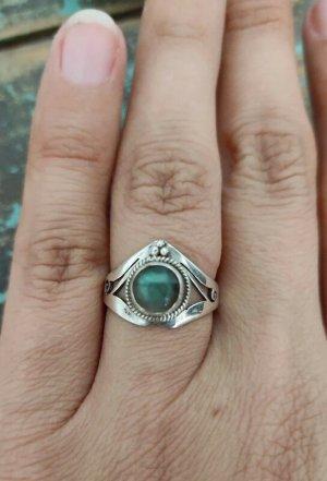 925 Ring mit Labradorit Ornament Ethno Vintage Sterling Silber