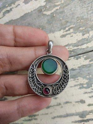 925 Silber Anhänger mit einem grünen Stein und Granat Vintage Ethno Hippie boho Sterling Echtes silber