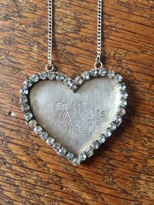 925 Silber Collier Liebe Halskette 48 cm Es ist was es ist 37 Steinchen Einzelstück