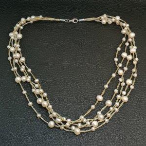 925 Silber Echt Perlencollier 5 Reihen Ketten Collier Perlen Perlenkette gold bicolor