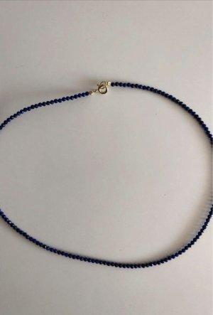 echt Silber 925 Zilveren ketting goud-donkerblauw